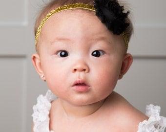 SALE, Baby Headband, Baby Girl Headband, Gold & Black Headband, Headband, Holiday Headband, Hairbow, Christmas Headband, Newborn Head band