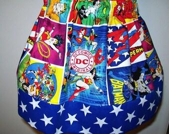 Super Heroes - Wonder Woman - DC Comics - Blue - Stars - Batman - Superman - Flash - Green Lantern - Aquaman -  Size Medium -  Girl's Skirt