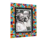 Colorful Multicolored Rainbow Mosaic Picture Frame - 4 x 6 Frame - 5 x 7 Frame