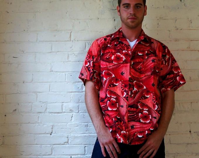 Vintage Hawaiian Shirt 1950s Surfriders Sportswear Aloha Shirt Mens MEDIUM Hibiscus Red Tropical Island Fishing Flowers Boats Made in Hawaii