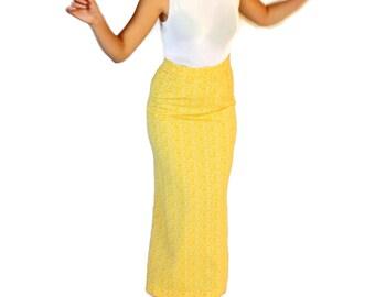 60s yellow skirt. Vintage maxi skirt.  Long A-line skirt. Jacquard skirt. Floral skirt. Mad Men fashion. Mother'r Day Gift.