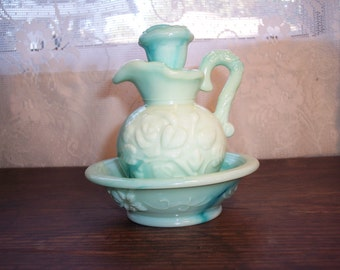 Vintage Avon pitcher and bowl green slag glass bubble bath holder bath oil holder country cottage chic