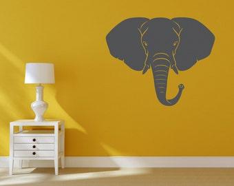 Elephant Head Removable Wall Vinyl Decor, big elephant safari animal african animals elephant wall vinyl wall stickers wall decals