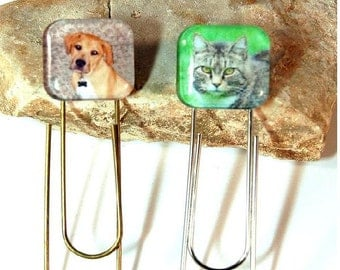 Photo Bookmark Jumbo Paper Clip Personalized Glass Tile in Gift Pouch for Pet Lovers Him Her Friend Hissyfit Book Mark