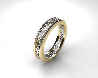 Thin Filigree ring, Diamond ring, two tone, white gold, yellow gold, diamond wedding, filigree wedding, vintage style, wedding band, thin