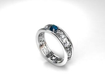 Teal and white diamond filigree ring, teal engagement ring, white gold, filigree engagement, diamond ring, teal wedding, blue diamond, teal