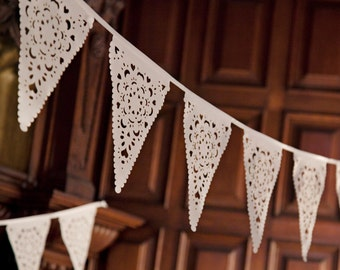 Perfect Wedding venue Decorations - Ivory lace bunting - Gorgeous, delicate and reusable
