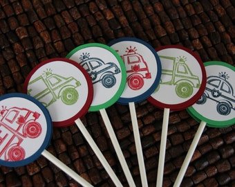 Transportation Cupcake Toppers - set of 12 - Police Car, Ambulance, Fire Truck
