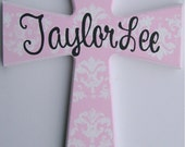 Hand painted personalized child's large wooden wall cross