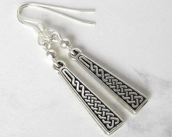 Celtic Knot Dangle Earrings, Sterling Silver Beads, Sterling Silver Earwires