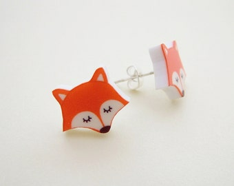 Fox Earrings - Acrylic Earrings - Red Fox - Stud Earrings - SILVER PLATED