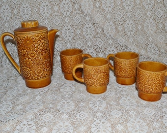 70s Daisy Coffee Pot & Mugs ~ Set of 5 ~ Retro Coffee Cup ~  Daisy Coffee Cups ~ Mod ~ Epsteam