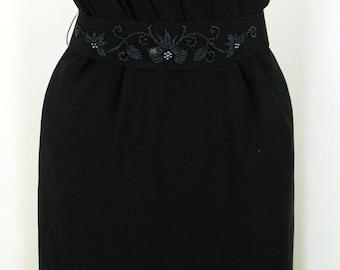VTG 60's Black Silk Dress with Sequined belt  sz 10