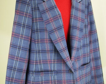 VTG 70's – 80's ~PENDLETON~ Plaid Ladies Jacket / Coat in Blues and Pink