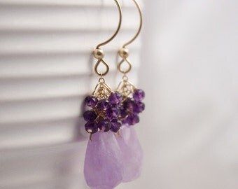 Lilac Amethyst Sway Earrings with dark Amethyst clusters, Amethyst and Gold Fill Earrings
