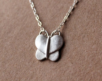 Silver Butterfly Necklace - Fine Silver Necklace - Sterling Silver Necklace - Silver Jewelry - PMC - Metal Clay
