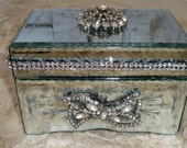 Mirrored jewelry box rhinestone embellished shabby chic vanity dresser home decor anita spero - AnitaSperoDesign