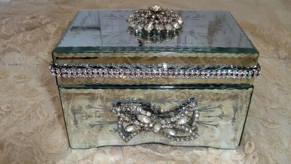 Mirrored Jewelry Box Rhinestone Embellished By