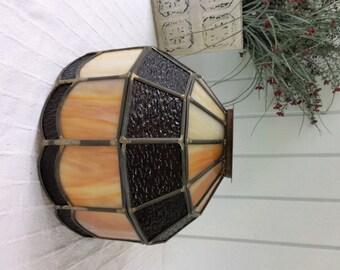 vintage leaded glass lamp shade dark brown pebble glass u0026 amberwhite slag glass