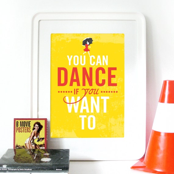 """Music Poster Men without hats """"You can dance if you want to"""" lyrics inspired by song poster morton salt girl illustration inspired vintage"""