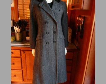 Vintage 70s Projections Ltd. Grey Wool Tweed Edwardian Style Frock Velvet Collar Coat 8 M