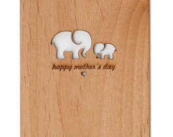 Mother's Day Card -- Mom and Baby Elephants Card
