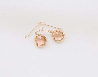 Champagne Crystal Drops - 14k gold fill and crystal earrings
