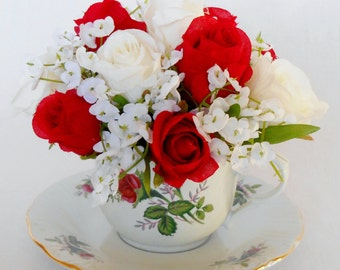 Teacup Silk Flower Arrangement, Creamy White & Red Rosebuds with White Gypsophila, Vintage Cup and Saucer, Silk Floral Arrangement, Floral