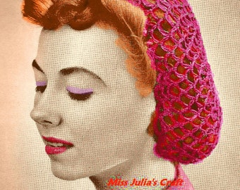 A BEST Vintage 1939 Fashionable Fish Net Snood 416  PDF Digital Crochet Pattern