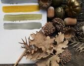 "grey and yellow wall art  watercolor painting original geometric stripes 81/4""x57/8"" / 21x14.8"