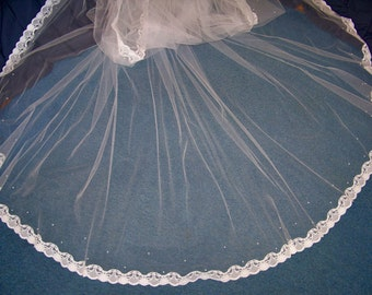 Custom Long Royal Cathedral Wedding Veil Lace At Lower End