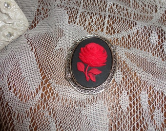 Sexy Red Rose on Black Brooch