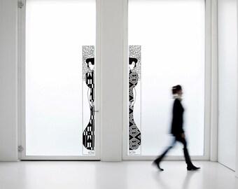 Wall Art inspired by Gustav Klimt 'Silhouette' large vinyl wall decal - removable sticker art decor for your livingroom decor (ID: 111029)