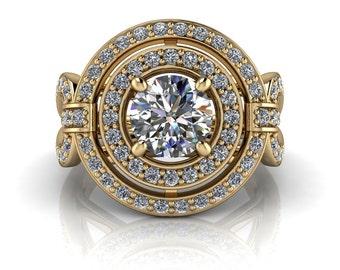 Moissanite Engagement Ring Double Diamond Halo