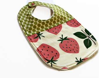 Strawberry bib for baby or toddler organic sherpa