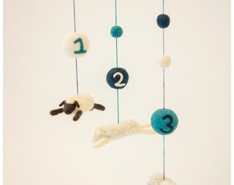 Counting Sheep Baby Mobile: Felted Sheep and Numbers