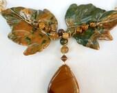 HOLD FOR Georgianne---------Rainforest Jasper and Mookaite Jasper Necklace 2369j