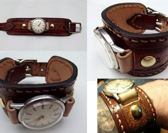 Custom Hand Tooled Leather Watch Band Cuff. Your image/design or idea.