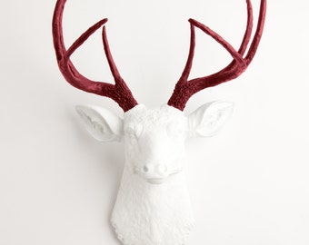 Faux Deer Head - The Helga - White W/ Maroon Antlers Resin Deer Head Mount - Stag Resin by White Faux Taxidermy Animal Head Wall Decor