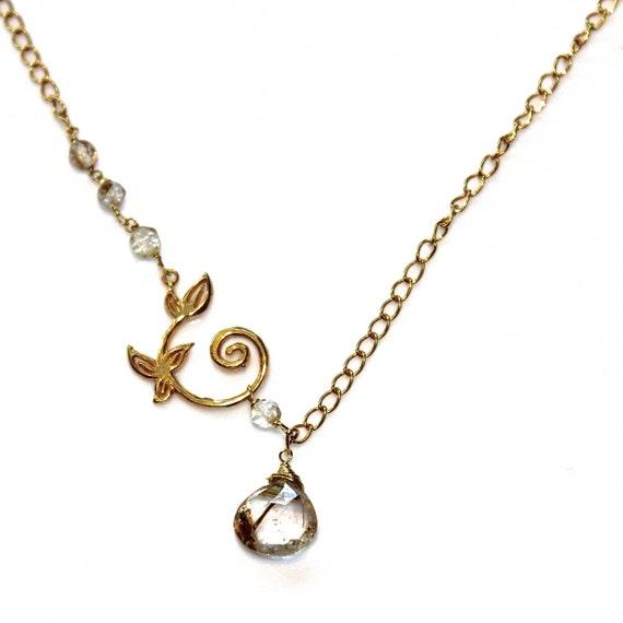 Golden rutilated quartz necklace gold scroll neclklace golden for Golden rutilated quartz jewelry