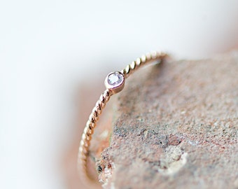 Twistet Ring With Zircon, Knuckle Ring Pink Gold,Stacking Rings, Bestseller Jewelry,Friendship Ring,Bridesmaids,Bride,Engagement