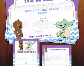 jedi star wars theme baby shower invite bundle ready to print digital