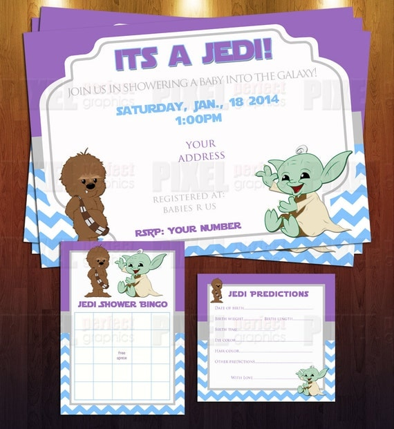 items similar to jedi star wars theme baby shower invite bundle ready