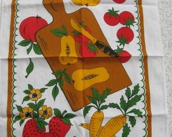 Vintage Pair Linen Tea Towels - Red/Orange, Fruits, Vegetables, Cutting Board - NOS