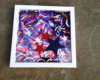 Patriotic Decor -  4th of July Decor, Wall Hanging, American Decor, Shadow Box Art, Home Decor, Patriotic Signs