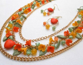 Statement Necklace, Flower Necklace, Long Necklace, Orange Jewelry, Floral Jewelry, Orange Yellow, Spring Jewelry, Heart Earrings, Floral