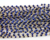 Genuine Lapis wirewrapped Gemstone Rosary Chain, 3x2mm w/ 24k Vermeil Over Sterling Silver, Sold By the Foot.,(GMC-LAPIS)