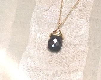 Black Spinel Teardrop Necklace 18k YG Handmade Jewelry
