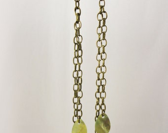 Natural Shell and Chain Dangle Earrings