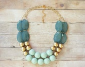 Ocean Gold and Mint Statement Necklace, Chunky Beaded Necklace, Mint Necklace, Mint Bib Necklace